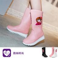 【快速出貨】韓系甜美浪漫小女孩鋸齒狀圓頭中筒靴/3色/35-43碼 (RX1146-X580) iRurus 路絲時尚