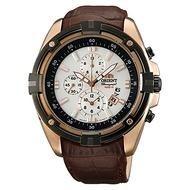 Orient Sports Chronograph Date Brown Leather Quartz Watch FTT0Y005W