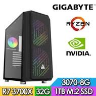 技嘉X570平台【無邈神官】R7八核獨顯電玩機(R7-3700X/32G/1TB_SSD/RTX3070-8G)