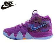 แท้ รองเท้าผ้าใบ Nike Kyrie 4 Irving 4th Generation Men's Basketball Confetti Shoes Purple Shock Absorption Wear Resistant Surround สำหรับผู้ชายรองเท้าบาสเกตบอล
