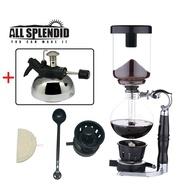 【All Splendid】專業咖啡組合【浸泡萃取 虹吸式咖啡壺+高效能虹吸專用瓦斯爐】台灣製造