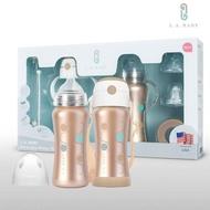 【L.A. Baby】四階段316超輕不鏽鋼保溫奶瓶成長禮盒組270ml 15件組(香檳金)