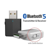 USB Bluetooth 5.0 Transmitter for TV 3.5mm Mini Car Bluetooth Receiver AUX Stereo Music with Changer
