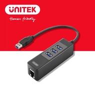 【UNITEK USB3.0有線網卡+3埠HUB】Y-3045C