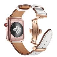 ใช้ได้กับ Apple นาฬิกาสายรัดข้อมือ New Series 6รุ่น Applewatch สายรัดข้อมือหนังหนัง SE/1/2/3/4/5/6รุ่น Iwatch5สายหนังแท้หัวเข็มขัดพลาสติก40/44มม.