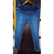 全新正韓牛仔藍彈性窄管牛仔褲34XXL號