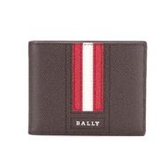 BALLY  字母LOGO 紅白條紋 單層 防刮牛皮短夾 (咖啡色)