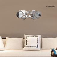 waterdrop 30Pcs Wall Sticker 3D Mirror Surface Round Acrylic Mirror Removable Wallpaper for Living Room