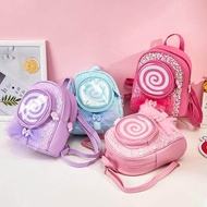 ✉♝✔Little Girl Leisure กระเป๋าสะพายเดินทางเลื่อม Lollipop หลอดไฟ LED สร้างสรรค์เด็กเจ้าหญิงเด็กเป้สะพายหลังการ์ตูน