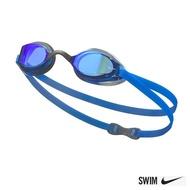 【NIKE 耐吉】Legacy Mirror 兒童專業型泳鏡 抗UV 超廣角 藍 NESSA180-400