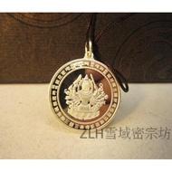 純銀準提鏡掛件 準提佛母像護身掛飾吊墜 修行法器佛教用品不褪色