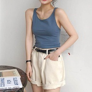 ♡Oriental-beauty Women Casual Close-fitting Vest, Sleeveless Solid Color U-shaped Collar Crop Tops, Dark Blue/ White/ Black