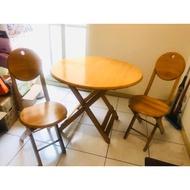 實木可折疊桌椅組(二手/一桌兩椅)