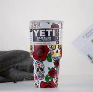 100% ของแท้ YETI_Tumbler Rambler 30 oz ถ้วยน้ำร้อนเครื่องทำน้ำแข็งถ้วยเก็บอุณหภูมิ Limited Edition กะโหลกศีรษะกาแฟแก้ว 304 สแตนเลสถ้วย