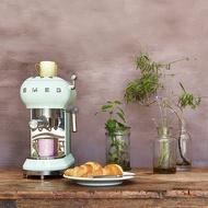 【SMEG】義大利半自動義式咖啡機-粉綠色