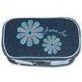 ANNA SUI刺繡花朵閃亮雙層拉鍊化妝包-藍
