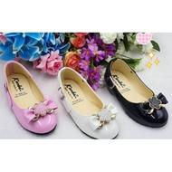 รองเท้าคัชชูเด็ก รองเท้าเด็กผู้หญิงแบบเป็นทางการ หนังมัน ผูกโบว์ ไซส์ 25-36