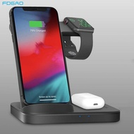FDGAO 3ใน1 15W Qi Fast Wireless Charger StationสำหรับAirpods Pro AppleนาฬิกาSE 6 Iphone 11 samsung S20 Galaxyเกียร์Buds