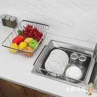 瀝水架不銹鋼瀝水籃廚房水槽瀝水架水池洗菜盆濾水籃子碗碟架可伸縮xw