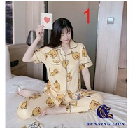 RUNNING LION-PAJAMA SLEEPWEAR sleepwear terno pajama sleepwear pajama set for women's /cotton terno pants