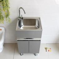 落地水槽 廚房304不銹鋼水槽洗菜盆洗碗池陽台洗衣台盆落地式一體組合櫃T【雙11購物節 交換禮物】