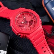 【CASIO 卡西歐】G-SHOCK 八角農家橡樹 雙顯橡膠腕錶/紅(GA-2100-4ADR)