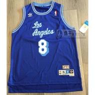 Adidas 正版美品 青年版 NBA LAKERS 8號 KOBE BRYANT 草寫藍 復刻球衣 YXL YL