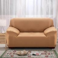 [ผ้าคลุมโซฟา] ปลอกหุ้มกันลื่นแบบยืดได้ 1 2 3 4 ที่นั่งสีแทน