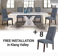 Q 10  1+8 Marble Dining Set / 8 Seater Marble Dining Table Set / Marble Dining Table With 8 Chairs / Marble Dining Set (TMN)