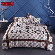 歐美大牌定制款 古馳 Gucci小蜜蜂 GUCCI 加厚純棉床包四件套 被套 床包 標準雙人組 加大組