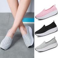 รองเท้าคัชชู รองเท้าสลิปออนผู้หญิง 5cm เพิ่มความสูง รองเท้าผ้าใบเสริมส้น รองเท้า slipon รองเท้าถัก ตาข่ายกันนก รองเท้าผู้หญิง