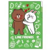 【3949】A0558 日本製 【Line Friends】 熊大兔兔約會 A4雙頁資料夾