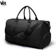 【PICANO】 WB1212BK黑色 韓版大容量旅行包手提包/側背包(附USB外置充電接口)