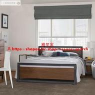 LOFT工業風實木飾板鐵床架/歐式復古木飾鐵管床架/法式古典鐵藝床架/5尺6尺雙人床/3尺半單人床
