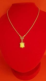 สร้อยคอทอง ลายบล็อก พร้อมจี้พระ เต่ามหาลาภ สร้อยคอลายบล็อกยาว18นิ้ว 2สลึง ชุบทองแท้ ผลิตจากช่างฝีมือเยาราช