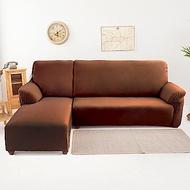 【格藍傢飾】超彈性L型涼感沙發套(兩件式-左邊)-典雅咖
