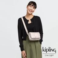 【KIPLING】溫柔奶油格紋前後加寬收納側背包-ABANU