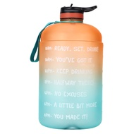 water bottle3.78L outdoor water bottle with straw 1 gallon plastic fitness water bottle with time printing