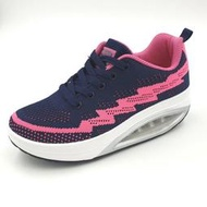 【MEI LAN】LONDA POLO 輕量 編織 厚底 健美鞋 氣墊鞋 休閒 運動鞋 7843 藍桃 另有黑白色