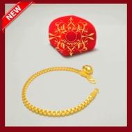 สร้อยข้อมือทอง ชุบทองไมครอน ลายบล็อคเหลี่ยม น้ำหนัก 2 สลึง ความยาว 17 เซน ราคา 199 บาท