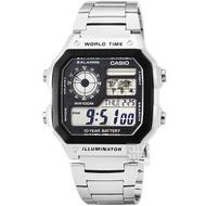 【CASIO 卡西歐】CASIO 卡西歐多時區鬧鈴電子鋼帶錶-黑(AE-1200WHD-1A)