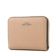COACH 荔枝紋皮革釦式拉鍊袋短夾-奶茶色