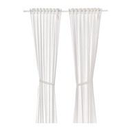 LEN 窗簾附布腰 2件裝, 圓點/白色