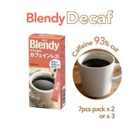 AGF Blendy Decaf Coffee 7pcs Box x 2 / x 3  Blendy Stick Decaf Instant caffeine-free Coffee Blendy Instant Decaf Decaffeinated Coffee