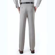 現貨✾❅❖夏季薄款男士西褲桑蠶絲免燙商務寬松直筒中年男褲真絲西裝褲子