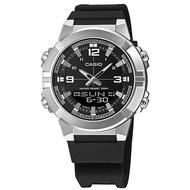 【CASIO 卡西歐】粗曠雙顯 世界時間 計時碼錶 橡膠手錶 黑x銀 44mm(AMW-870-1A)