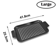 """Grill Topper BBQ Grilling Pans,Nonstick Grilling Barbeque Trays With Handle14""""x10""""Thicken Perforated Barbeque Grill Topper Tools"""