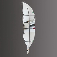 DIY Acrylic Mirror Silver Modern Style Wall Stickers Feather Mirror