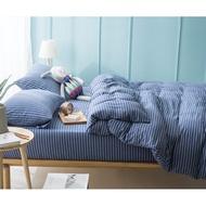 日式新疆天竺棉系列~MUJI無印良品風 純棉簡約新款細條紋雙人床包被套4件組(5尺)(6尺)~PicHome 挑 家居