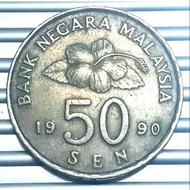 1990 MALAYSIA Bunga Raya 50sen VF